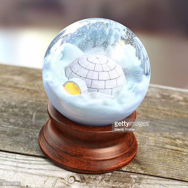 illustrations, cliparts, dessins animés et icônes de igloo in a snow globe - igloo