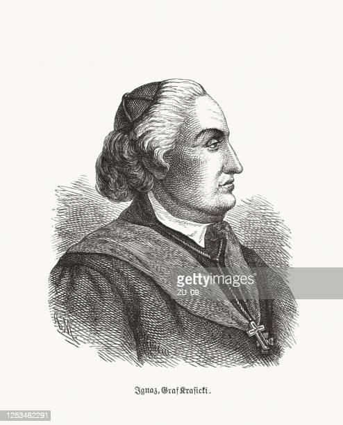 ilustrações, clipart, desenhos animados e ícones de ignacy krasicki (1735-1801), bispo e escritor polonês-lituano, xilogravura, publicado em 1893 - bishop clergy