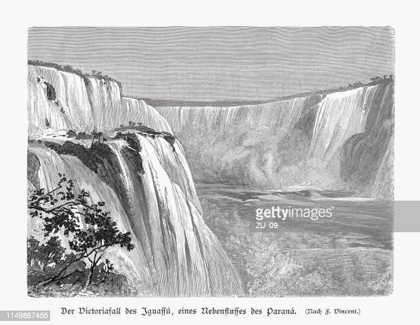iguazu falls, argentina and brazil, wood engraving, published in 1897 - parana state stock illustrations
