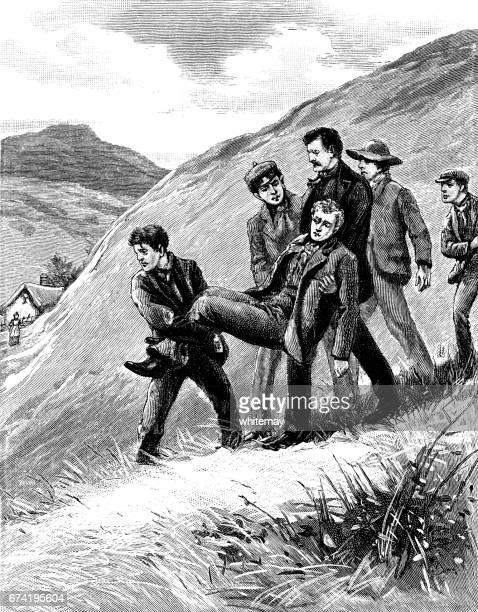 Enfermo o lesionado victoriano hombre llevando a una montaña