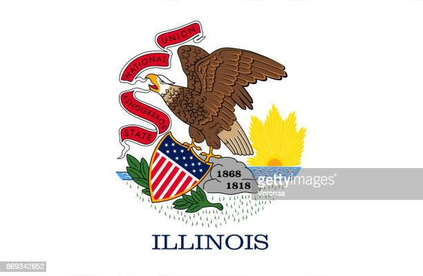 illustrations, cliparts, dessins animés et icônes de drapeau de l'illinois - illinois