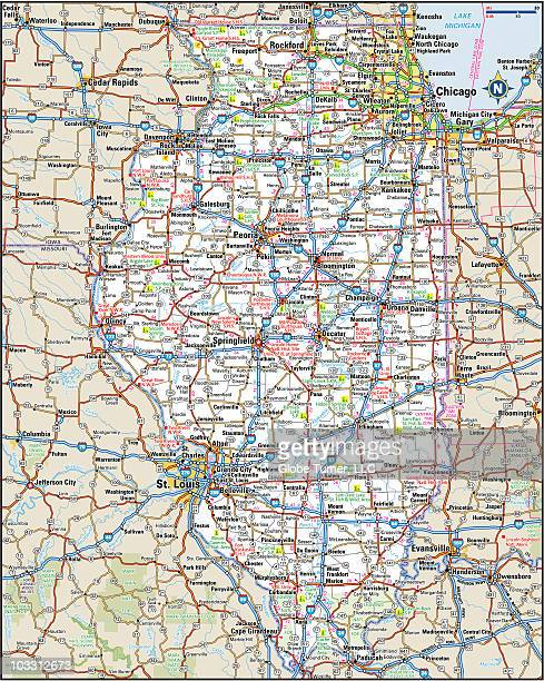Illinois Highway Map Vector Art | Getty Images