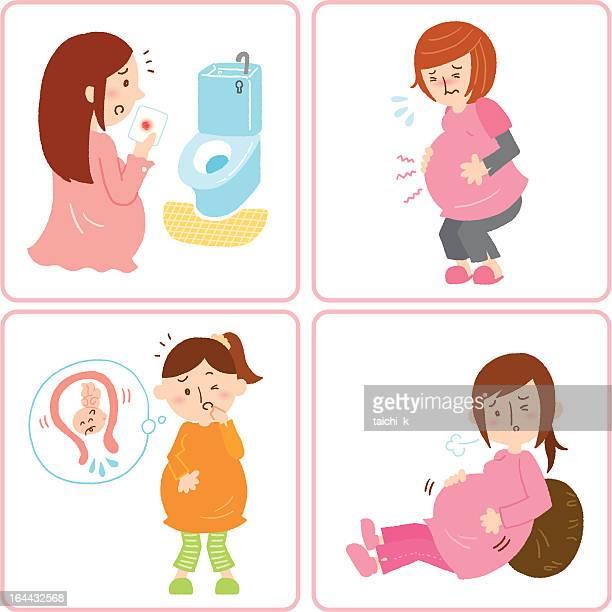 illness under pregnancy - stomach pain stock illustrations, clip art, cartoons, & icons