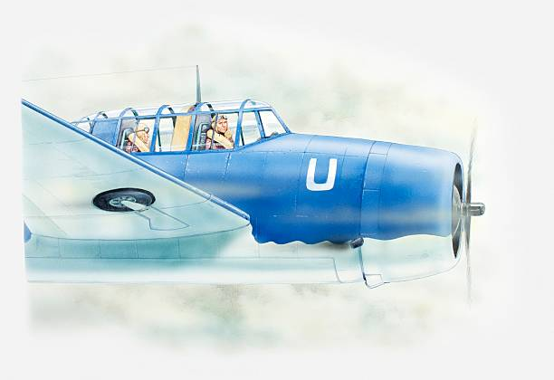 Illstration of two pilots flying Grumman TBF Avenger above clouds