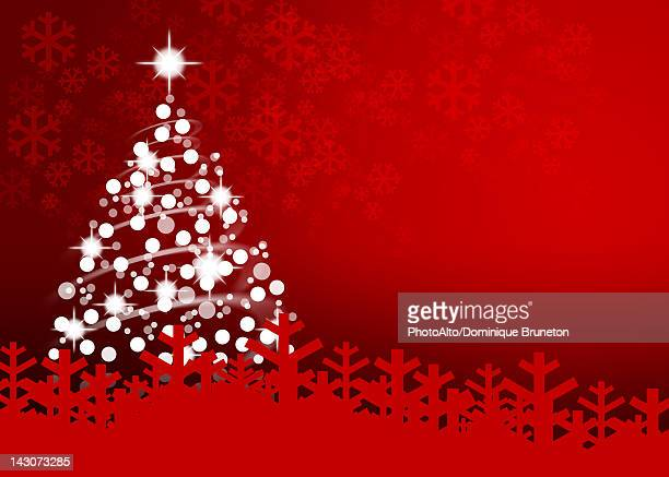 illuminated christmas tree on red background - illustration technique stock illustrations