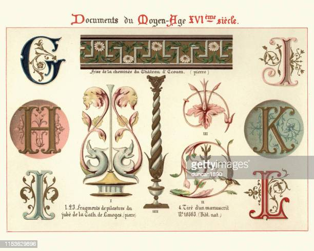 illuminated manuscript letters and design elements, 16th century - renaissance stock illustrations