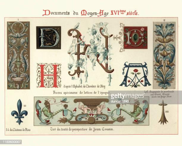 照らされた原稿の手紙および設計要素、16世紀 - フルールドリス点のイラスト素材/クリップアート素材/マンガ素材/アイコン素材