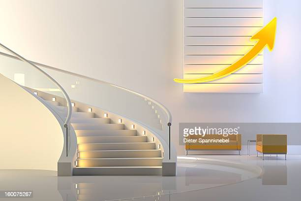 illuminated upward arrow in a lobby with stair - central europe stock illustrations, clip art, cartoons, & icons