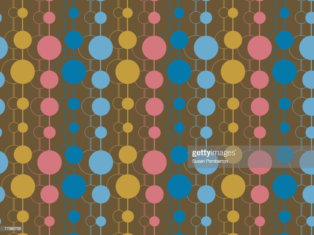 Illustrated abstract pattern with colorful dots on brown : stock illustration
