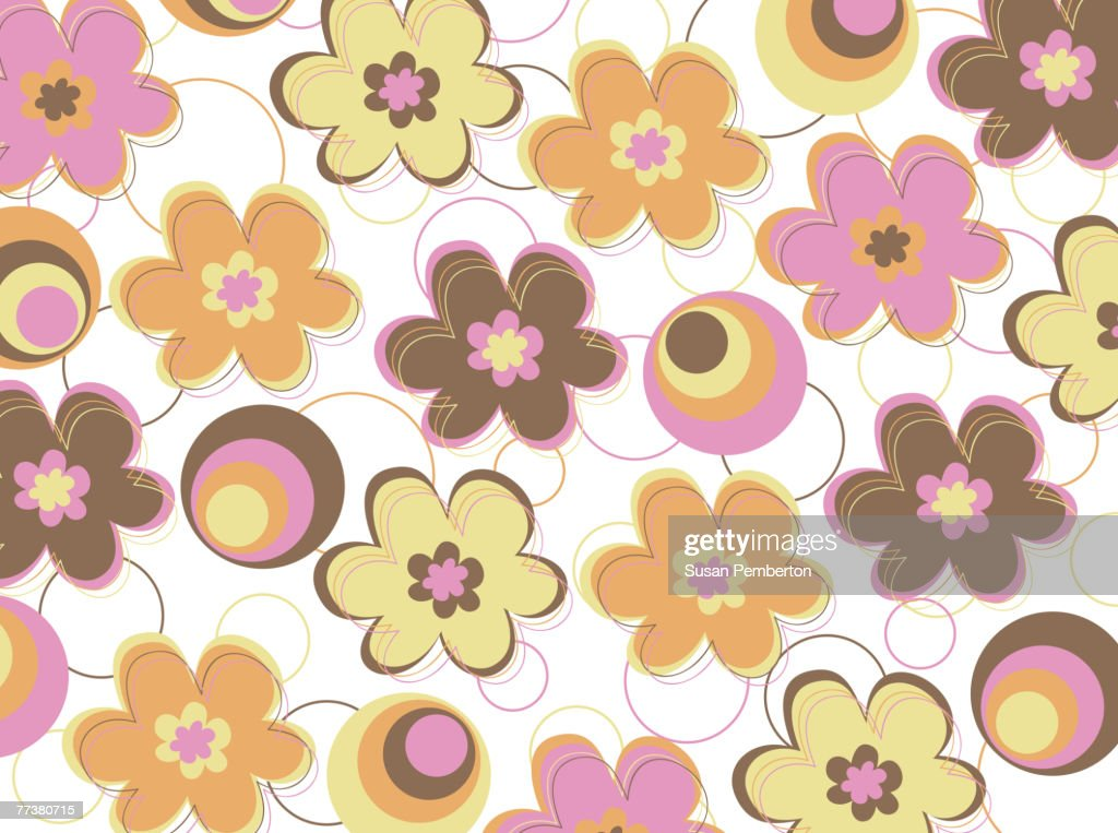 Illustrated abstract pattern with colorful flowers : Illustration