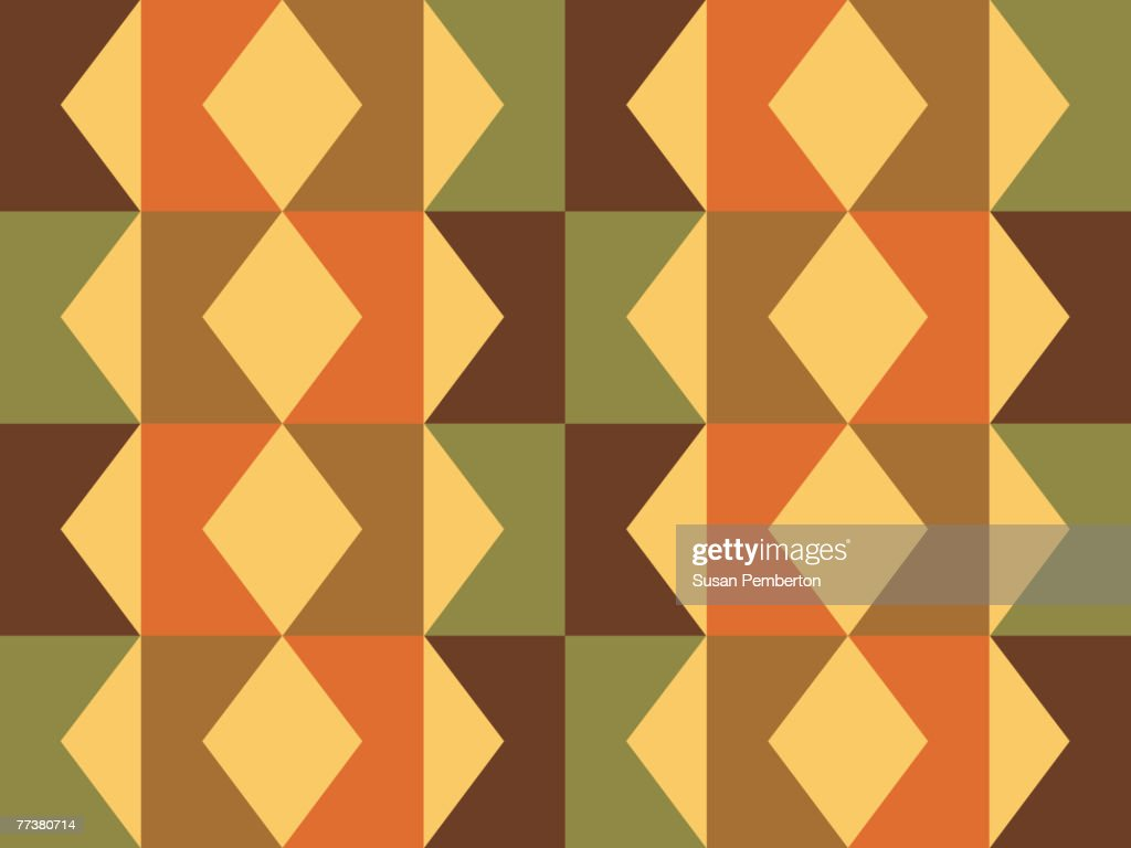Illustrated abstract pattern with green and brown zig zag shapes : Illustration