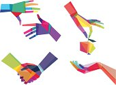 Illustrated colorful hands graphic image set