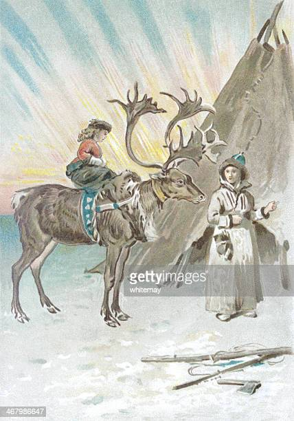 illustrated girl rides reindeer in front of Northern Lights