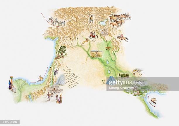 Illustrated map of ancient Assyrian empire