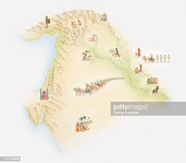 Illustrated map of ancient Babylon