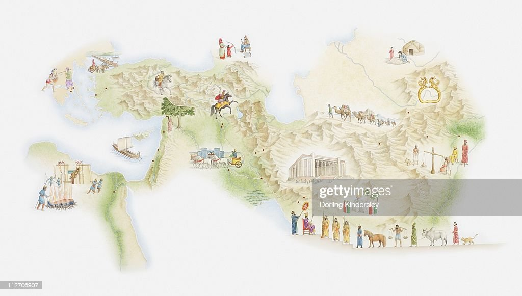 Illustrated Map Of Ancient Persia stock illustration - Getty Images