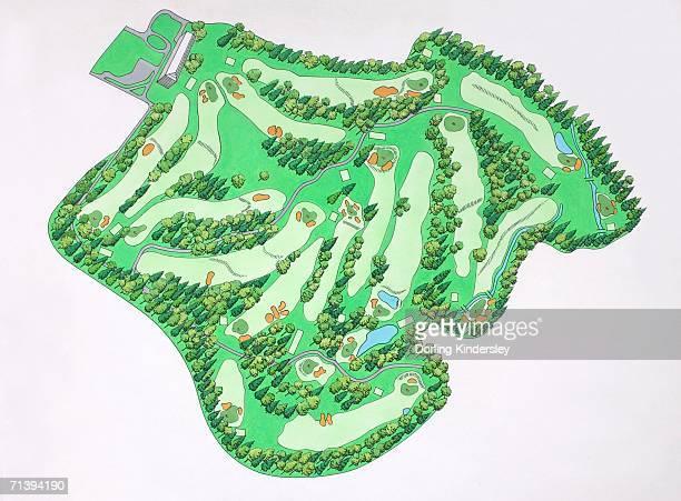stockillustraties, clipart, cartoons en iconen met illustrated map of augusta national golf course, augusta, georgia, usa. - augusta georgia