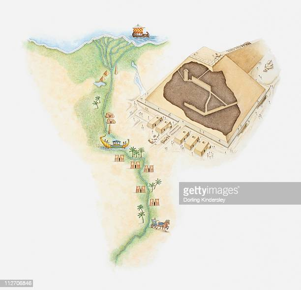 illustrated map of egypt showing position of pyramids and rock tombs along river nile, next to a model of a pyramid - nile river stock illustrations, clip art, cartoons, & icons
