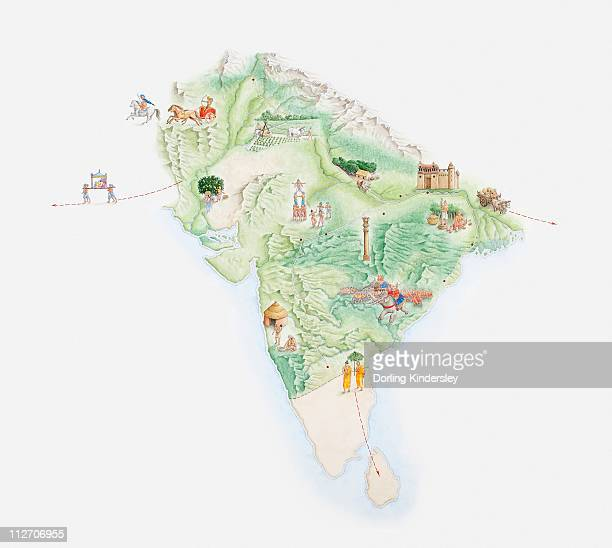 illustrated map of india showing ancient mauryan empire - empire stock illustrations