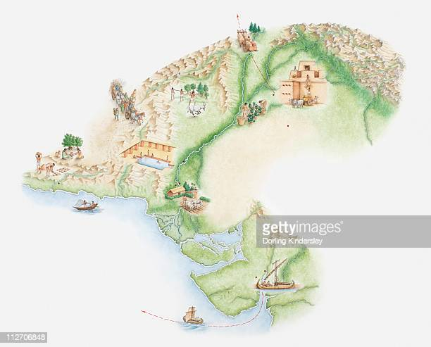 Illustrated map of Indus Valley civilisation