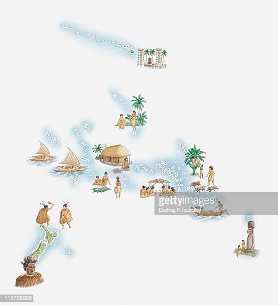 Illustrated map of New Zealand, Hawaiian Islands, Polynesian Islands and native population