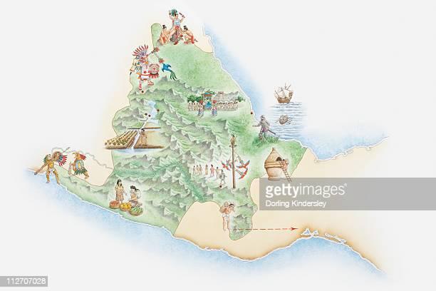 ilustrações, clipart, desenhos animados e ícones de illustrated map of the land of the aztecs - asteca