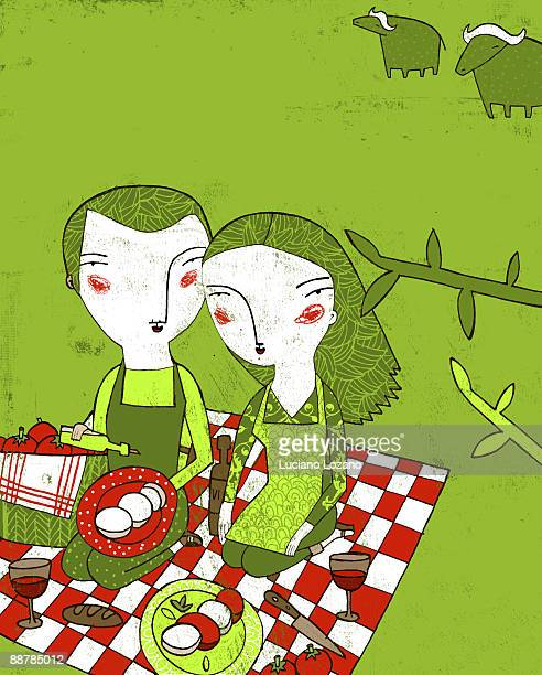 illustrated pinic  - picnic blanket stock illustrations, clip art, cartoons, & icons