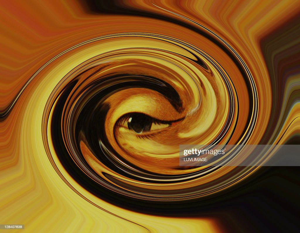 illustration around an eye in the form of a tornado swirl : stock illustration