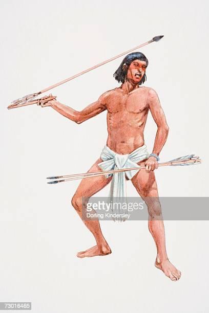 ilustrações de stock, clip art, desenhos animados e ícones de asteca guerreiro ilustração - astecas