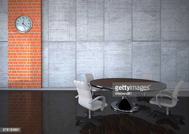 3d illustration conference table with chairs - meeting stock illustrations