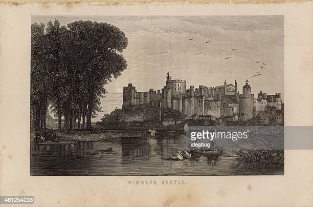 illustration, copyright 1875, windsor castle - windsor castle stock illustrations