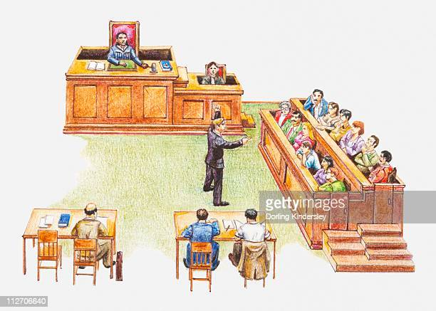 Illustration depicting court of law
