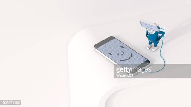 3d illustration, figurine loading smartphone - figurine stock illustrations, clip art, cartoons, & icons