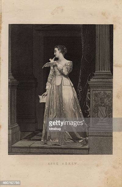 illustration, from 1875, of english tudor woman, anne askew - tudor stock illustrations