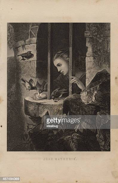 illustration, from 1875, of joan mathurin awaiting execution - martyr stock illustrations