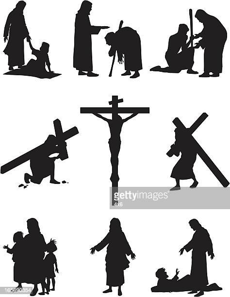 illustration from jesus christ's life - jesus christ stock illustrations, clip art, cartoons, & icons