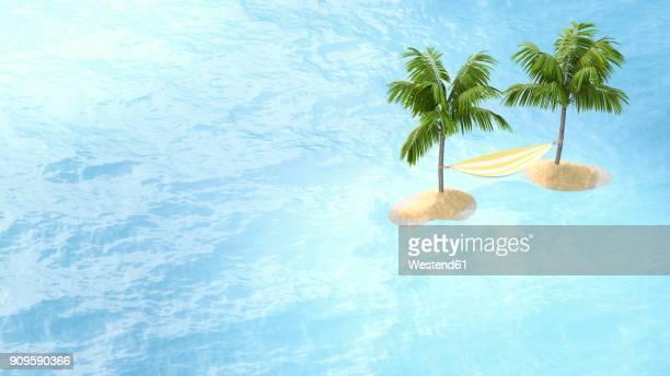 3d illustration, hammock between two islands, palms - idyllic stock illustrations