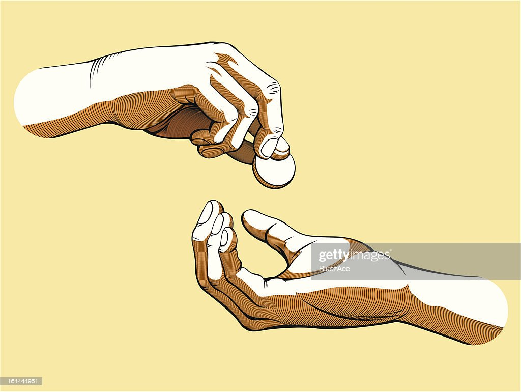Illustration #005 Hands Giving & Receiving Money (Colored version)