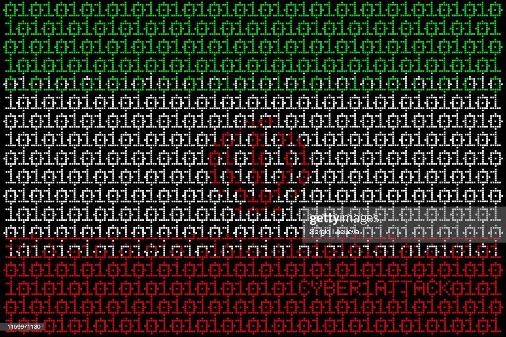 Illustration idea for cyber attacks targeting Iran. : stock illustration