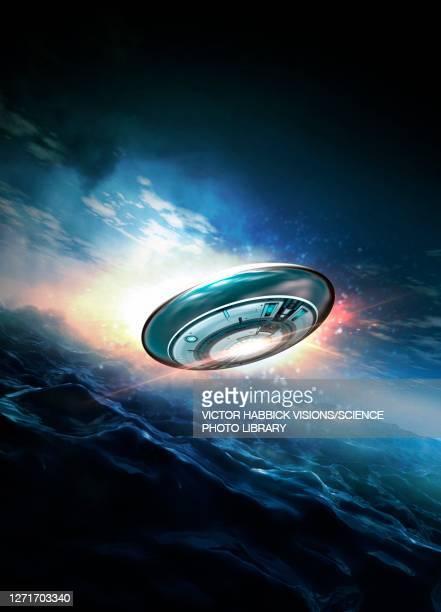 ufo, illustration - sea stock illustrations