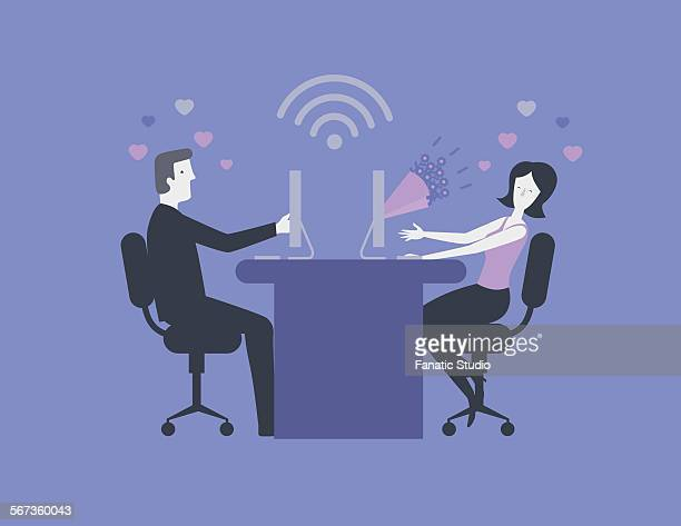 Illustration image of couple expressing their love for each other online