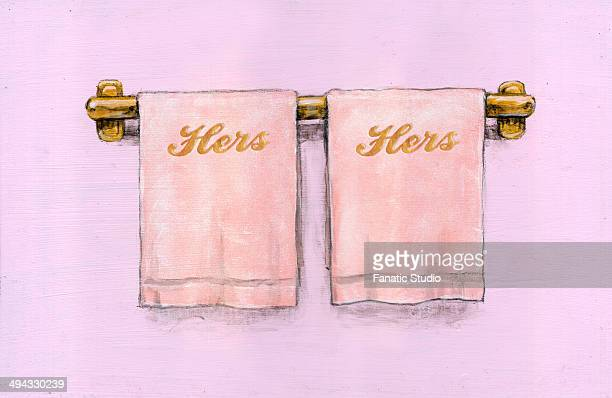 Illustration image of hers and hers towels on towel rail
