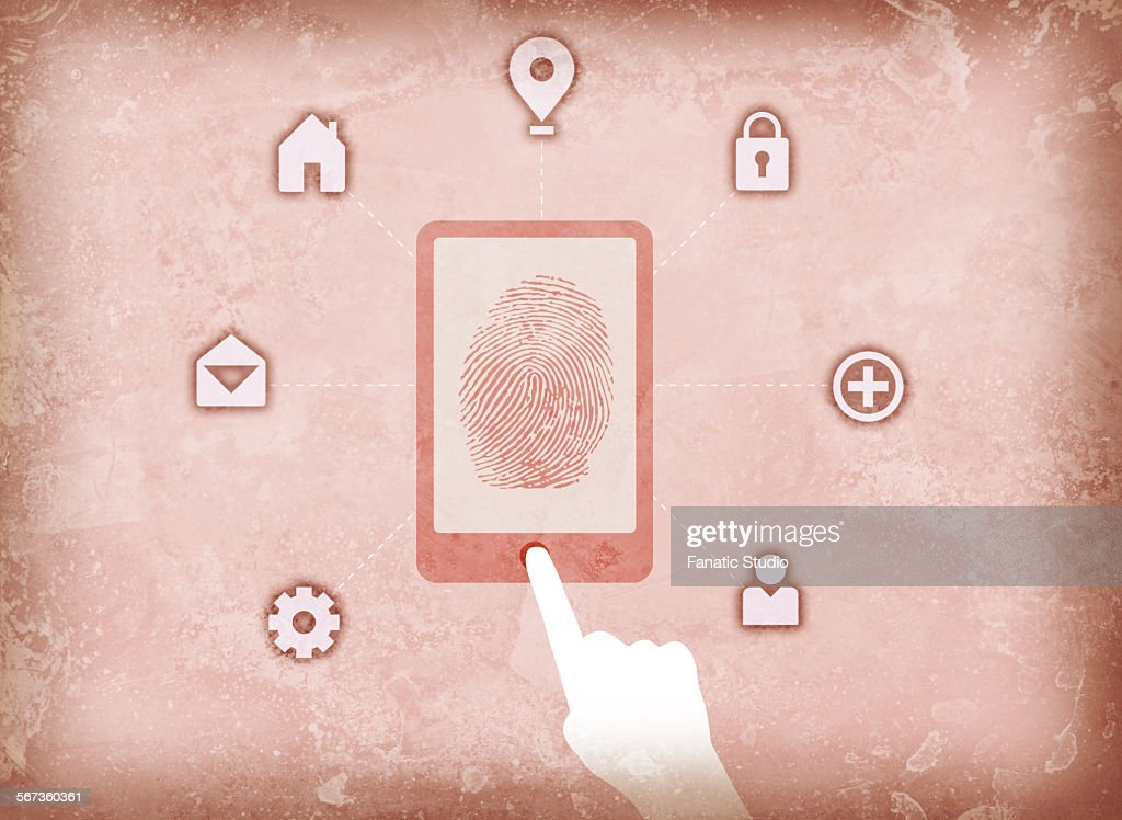 Illustration image of user accessing fingerprint scanner : Stock Illustration