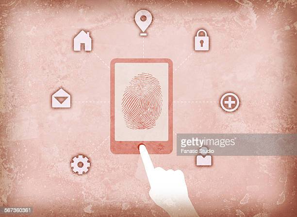 Illustration image of user accessing fingerprint scanner