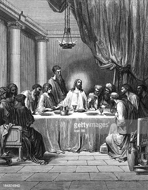 Illustration in black and white of the Last Supper
