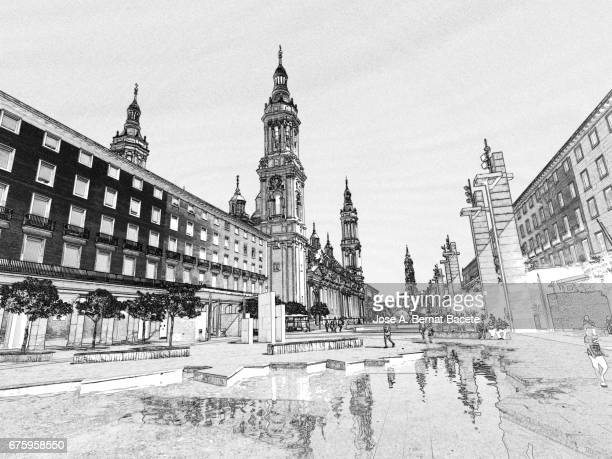 Illustration in black and white, tourists walking by Plaza Major of The Basilica of Our Lady of the Pillar, Zaragoza