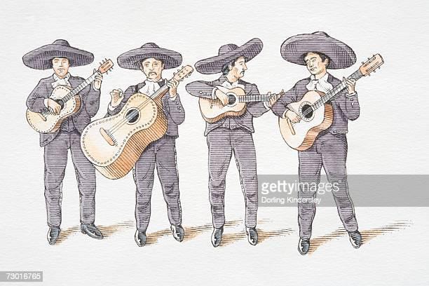 ilustraciones, imágenes clip art, dibujos animados e iconos de stock de banda mariachi ilustración, que consta de cuatro guitarists en gre - mariachi