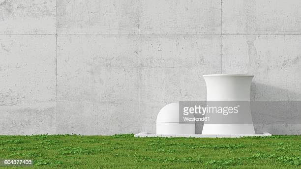 3D Illustration, nuclear power station, concrete wall and meadow