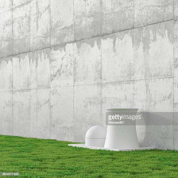 3d illustration, nuclear power station, concrete wall and meadow - concrete wall stock illustrations, clip art, cartoons, & icons