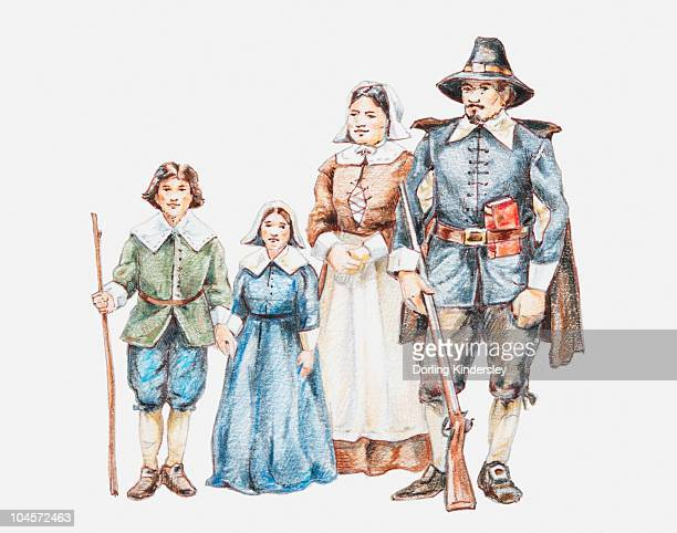 illustration of 17th century pilgrim family - pilgrim stock illustrations, clip art, cartoons, & icons